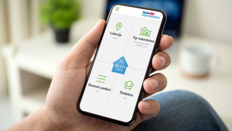 Halo oglasi nekretnine na smart telefonu