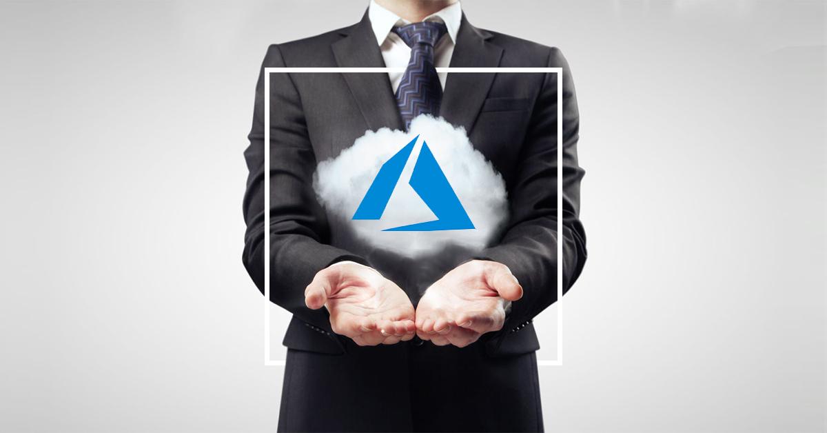 man holding azure cloud
