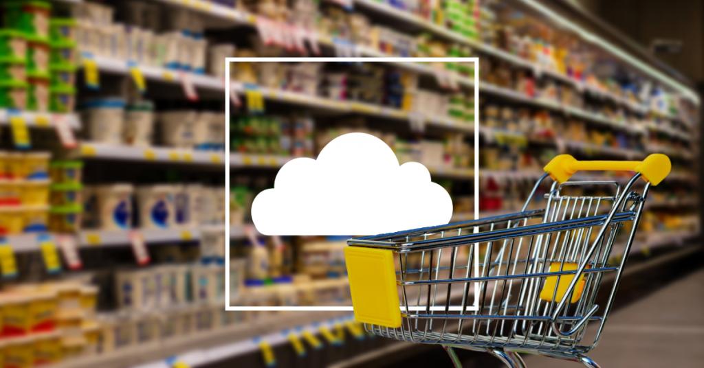 cloud u kolicima za kupovinu u supermarketu